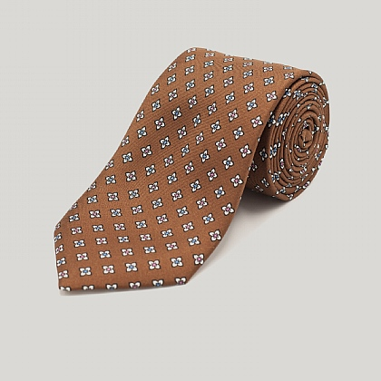 Brown Square Flower Printed Silk Tie