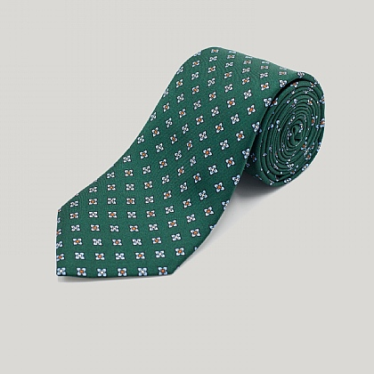 Green Square Flowers Printed Silk Tie