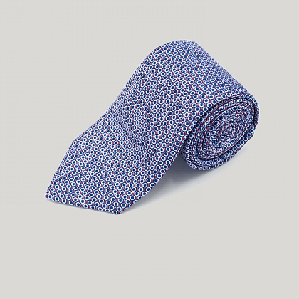 Navy Mini Circles Woven Silk Tie