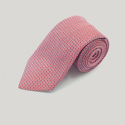 Red Mini Circles Woven Silk Tie