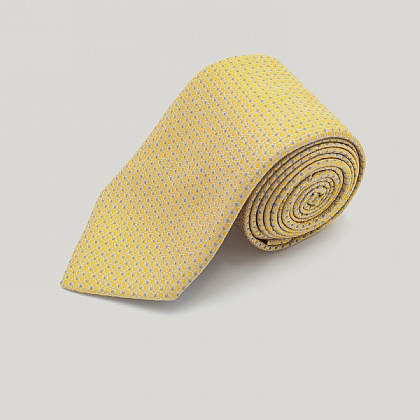 Yellow Mini Circles Woven Silk Tie