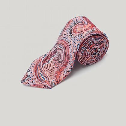 Orange Pastel Paisley Woven Silk Tie