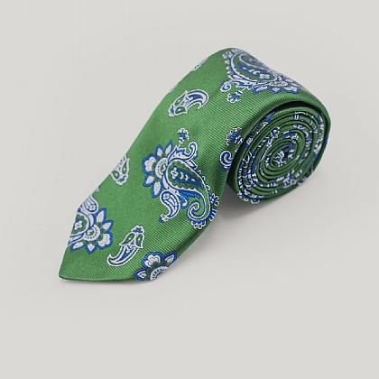 Green Large Paisley Woven Silk Tie