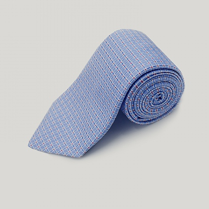 Blue Floral Grid Woven Silk Tie