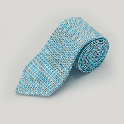 Teal Floral Grid Woven Silk Tie