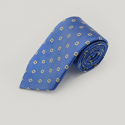 Blue and Gold Wonky Boxes Woven Silk Tie