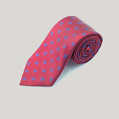 Red Wonky Boxes Woven Silk Tie