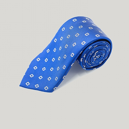 Blue and White Wonky Boxes Woven Silk Tie