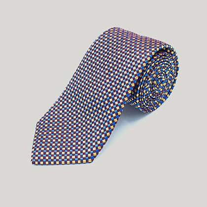 Wine and Gold Chequers Woven Silk Tie