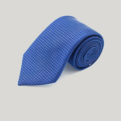 Navy and Red Houndstooth Woven Silk Tie