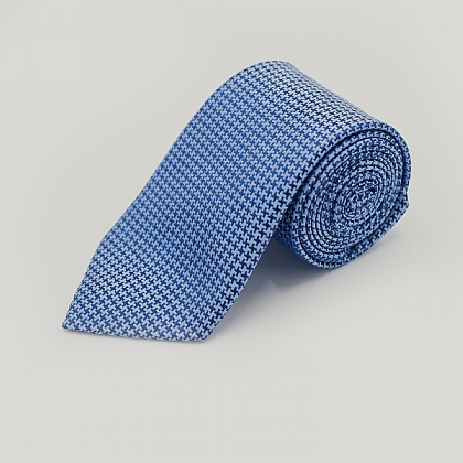 Navy and Sky Houndstooth Woven Silk Tie