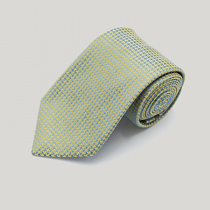 Sky and Gold Houndstooth Woven Silk Tie