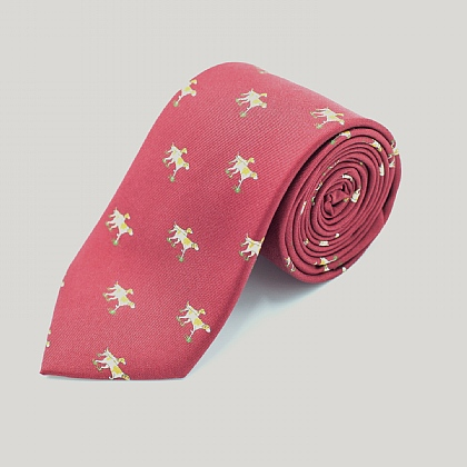 Burgundy Dog Print Silk Tie