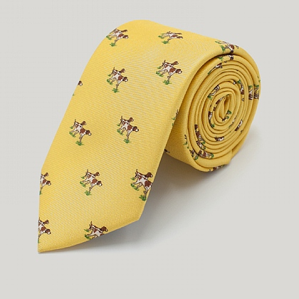 Yellow Dog Print Silk Tie