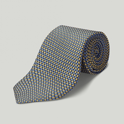 Blue and Gold Geometric Printed Silk Tie