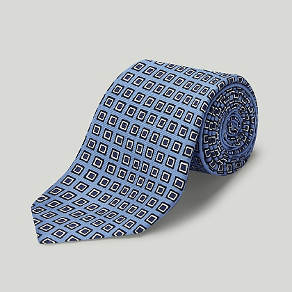 Sky and Navy Squares Printed Silk Tie