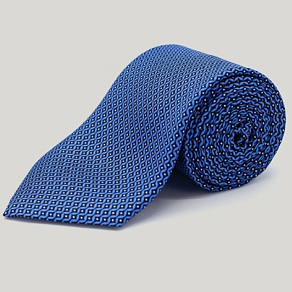 Blue Vertical Diamond Printed Silk Tie