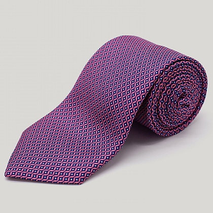 Pink Vertical Diamond Printed Silk Tie