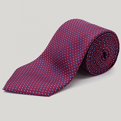 Red Vertical Diamond Printed Silk Tie