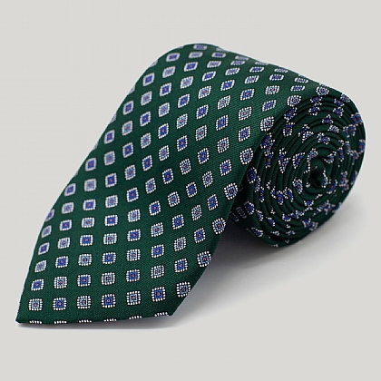 Green Squares Printed Silk Tie