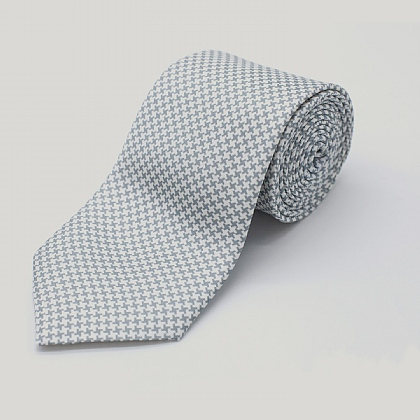 Grey Houndstooth Printed Silk Tie