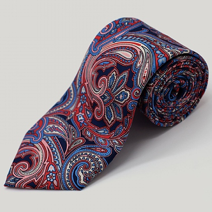 Navy and Pink Large Paisley Printed Silk Tie