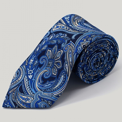 Navy and Sky Large Paisley Printed Silk Tie