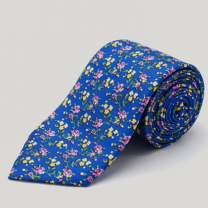 Blue Spring Rose Printed Silk Tie