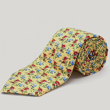 Yellow Spring Rose Printed Silk Tie