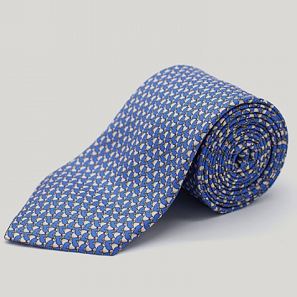 Blue Ducks Printed Silk Tie
