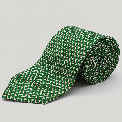 Green Ducks Printed Silk Tie