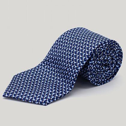 Navy Ducks Printed Silk Tie
