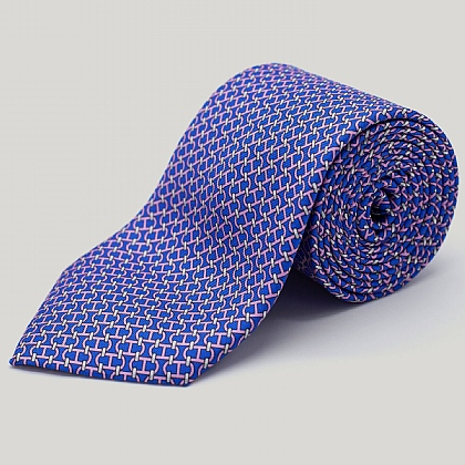 Blue Chain Links Printed Silk Tie
