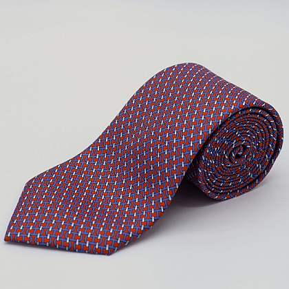 Red Chain Links Printed Silk Tie