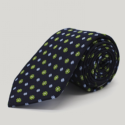 Navy and Green Floral Woven Silk Tie