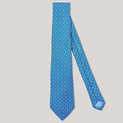Blue and Pink Buckle Geo Printed 100% Silk Tie