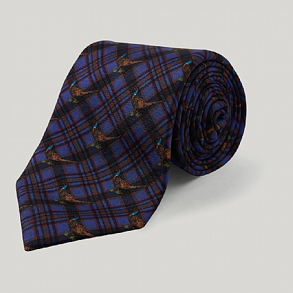 Royal Blue and Brown Pheasant Check Printed Silk Tie