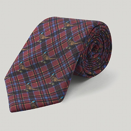Red and Blue Pheasant Check Printed Silk Tie