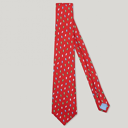 Red Ice Lolly Italian Silk Tie