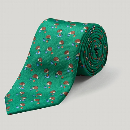 Green Hedgehog 100% Silk Printed Tie