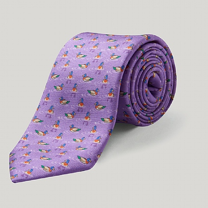 Lilac Duck 100% Silk Printed Tie
