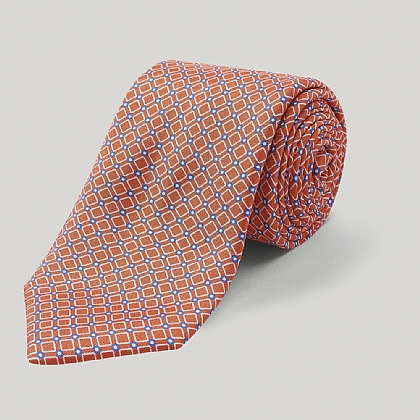 Coral and Blue Geo Square Printed Silk Tie