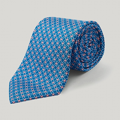 Teal and Orange Geo Square Printed Silk Tie