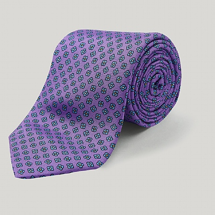 Lilac and Yellow Multi Floral Printed Silk Tie