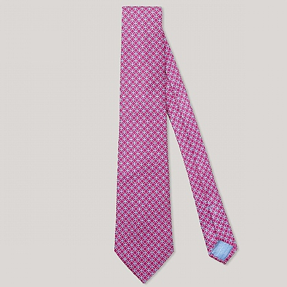 Pink and Blue Box Printed 100% Silk Tie