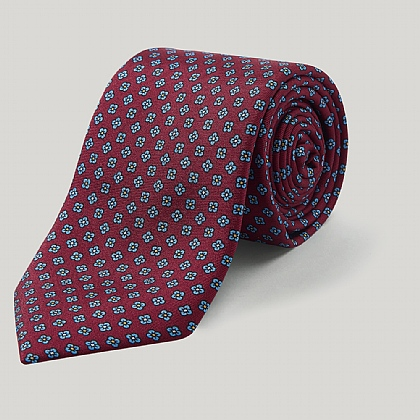 Wine and Yellow Multi Floral Printed Silk Tie