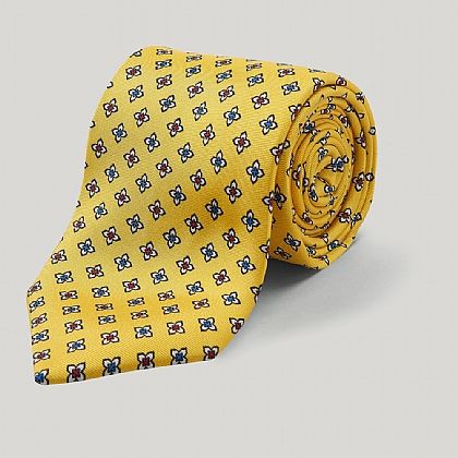 Yellow and Blue Floral Printed Silk Tie