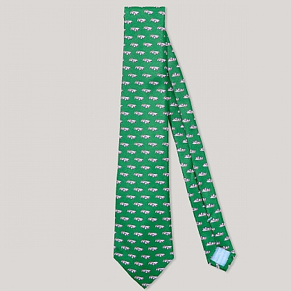 Green and Purple Car Printed 100% Silk Tie