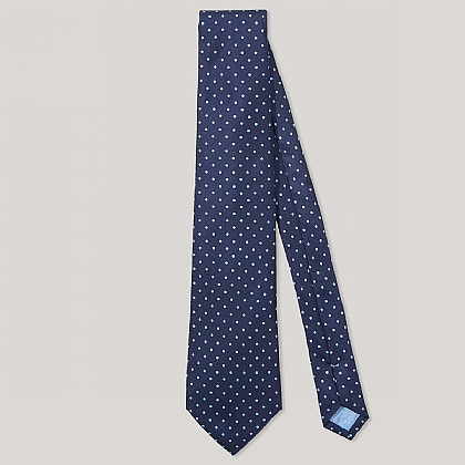 Navy and Sky Spot Printed 100% Silk Tie