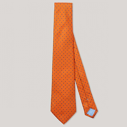 Orange and Purple Spot Printed 100% Silk Tie